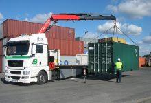 Transport de conteneurs grue